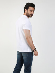 White Solid Polo Collar T-shirt