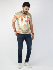 Multicolored Striped Round Neck T-Shirt