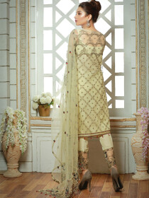 Yellow Embroidered Net 3 Piece Suit
