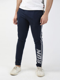 Blue Printed Slim Fit Joggers