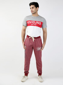 Red Printed Regular Fit Joggers