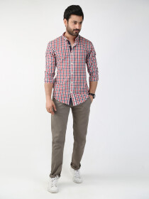 Multicolored Checked Slim Fit Casual Shirt