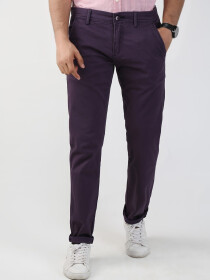 Purple Solid Slim Fit Chinos