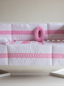Pink/White 10 Pcs Cot Bedding Sets