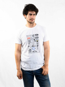 White Printed Slim Fit Round Neck T-Shirt
