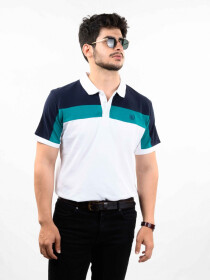 Multi Colored Slim Fit Polo Collar T-Shirt