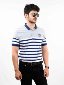 Multi Colored Striped Slim Fit Polo Collar T-Shirt