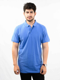 Navy Solid Slim Fit Polo Collar T-Shirt