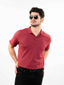 Maroon Solid Slim Fit Polo Collar T-Shirt