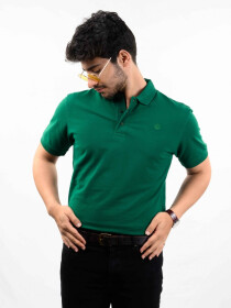 Green Solid Slim Fit Polo Collar T-Shirt