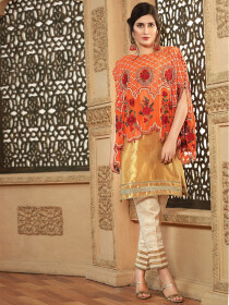 Orange Embroidered Chiffon Cape Suit