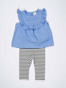 Light Blue Baby Girl Frill Frock Paired With Striped Tights