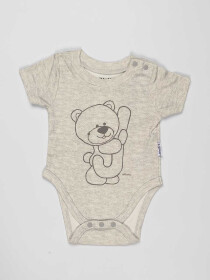Grey Printed Baby Boy Bodysuit