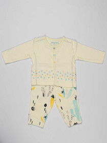 White Printed Newborn Baby Boy Pajama Suit