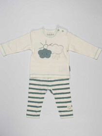 Off White & Grey Striped Baby Boy Pajama Suit