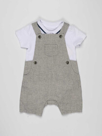 Grey & White Baby Boy 2 Piece Dungaree