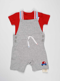 Red & Grey Baby Boy 2 Piece Dungaree
