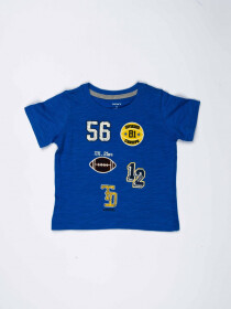Blue Printed Round Neck Baby Boy T-Shirt