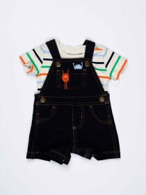 Blue & Grey Striped Baby Boy 2 Piece Dungaree