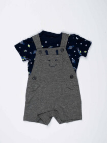 Grey & Blue Baby Boy 2 Piece Dungaree