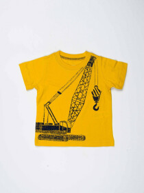 Yellow Printed Round Neck Baby Boy T-Shirt