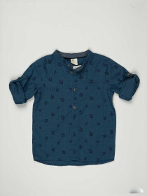 Blue Printed Baby Boy Casual Shirt