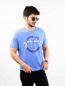 Blue Printed Round Neck T-Shirt for Men
