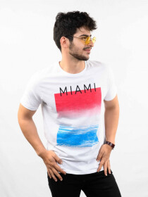 White Printed Round Neck T-Shirt for Men