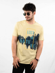 Tan Printed Round Neck T-Shirt for Men