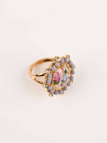 Stylish Multicolour Flower Gold Plated Ring