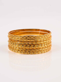 Glimmery Gold Plated Bangle Set Of 12 with Zircona Ring