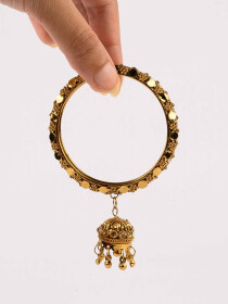 Glitzy Gold Plated Jhumki Bangle (kara)