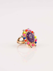 Delightful Stylish Multicolour Flower Gold Plated Ring