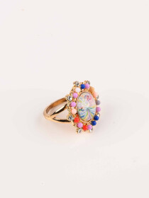Elegant Stylish Multicolour Flower Gold Plated Ring