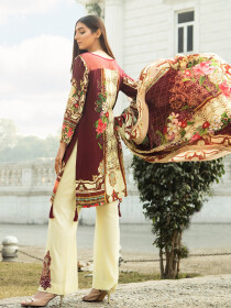 Maroon Printed 3 Piece Unstitched Suit