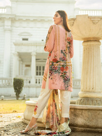 Peach Printed 3 Piece Unstitched Suit