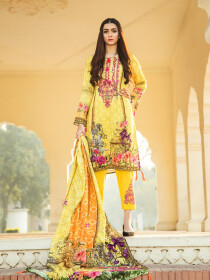 Yellow Printed 3 Piece Unstitched Suit