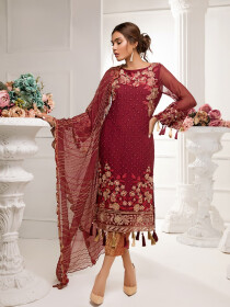 Maroon Embroidered Chiffon 3 Piece Unstitched Suit
