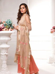 Multi Colored Embroidered Chiffon 3 Piece Unstitched Suit
