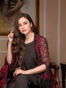 Black & Pink Embroidered Chiffon 3 Piece Unstitched Suit