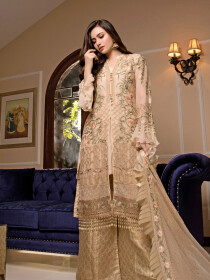 Beige Embroidered Chiffon 3 Piece Unstitched Suit
