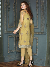 Mustard Embroidered Net 3 Piece  Suit