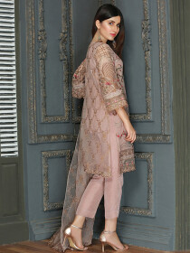 Tea Pink Embroidered Net 2 Piece Suit