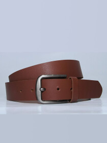 Genuine Leather Casual Belt- Tan Brown