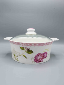 "10"" Floral Casserole Red Flower Design"