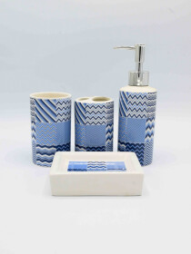 Bathroom Set Blue Line Design 4Pcs Set
