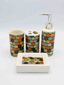 Bathroom Set Multicolor Circle Design 4Pcs Set