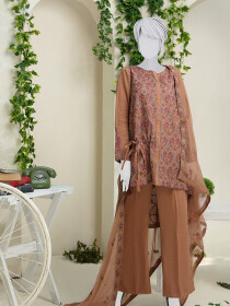 Brown Embroidered Unstitched Suit