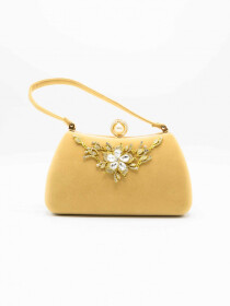 Golden Pearl Flower Design Women Bag