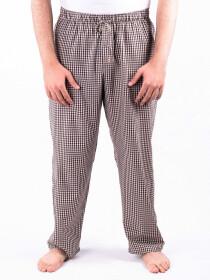 White and Brown Check Cotton Baggy Pajamas